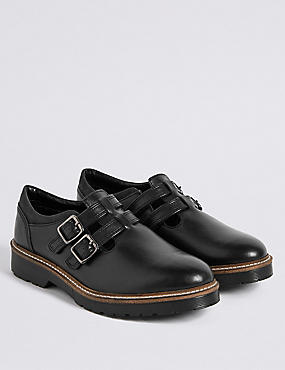 Kids' Leather Buckle Shoes (13 Small - 6 Large), BLACK, catlanding