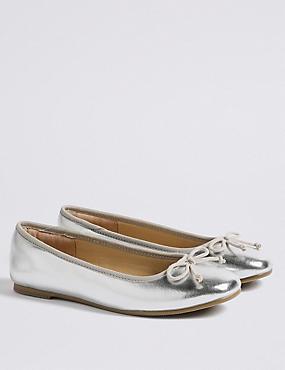 Kids' Ballet Pumps Shoes (13 Small - 6 Large), SILVER, catlanding
