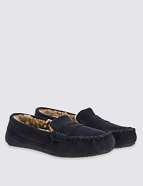 Kids' Pull-on Moccasin Slippers (13 Small - 7 Large), NAVY, catlanding