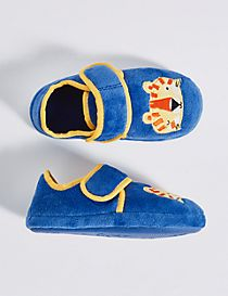 Kids' Applique Lion Riptape Slipper Shoes