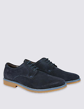 Kid's Suede Derby Lace-up Shoes, NAVY, catlanding