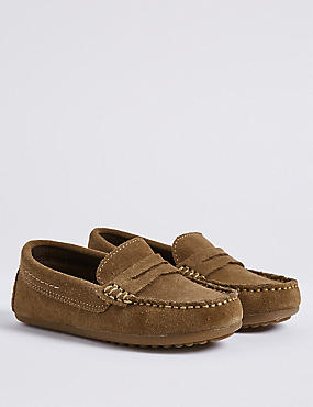 Kids' Suede Driving Shoes (13 Small - 7 Large), TAN, catlanding