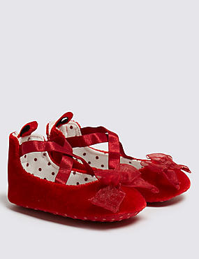 Baby Velvet Pram Shoes, RED, catlanding