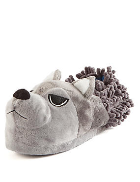 Kids' Wolf Slippers