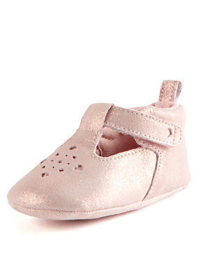 Kids' Suede Cut-Out T-Bar Pram Shoes