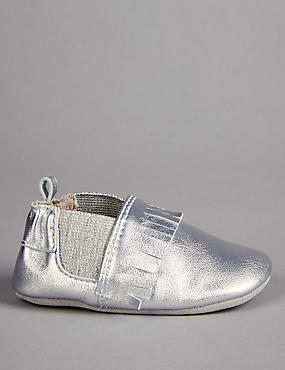 Baby Leather Fringed Pram Shoes