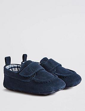 Baby Suede Pram Shoe, NAVY, catlanding