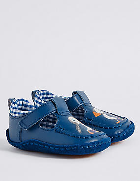 Baby Leather Riptape Pram Shoes, DARK BLUE, catlanding