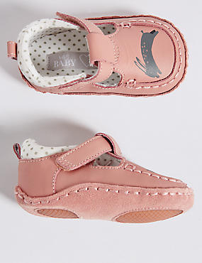 Kids' Leather Riptape Pram Shoes
