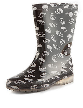 Kids' Flashing Lights Skull Print Welly Boots