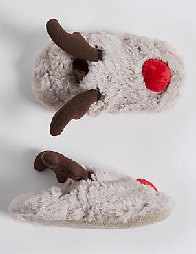 Baby Faux Fur Reindeer Pram Shoes
