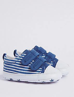 Baby Riptape Striped Pram Shoes, NAVY MIX, catlanding