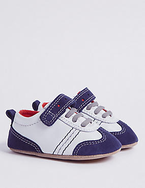 Baby Leather Riptape Pram Shoes, WHITE MIX, catlanding