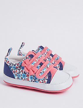 Baby Bow Floral Print Riptape Pram Shoes, BLUE MIX, catlanding