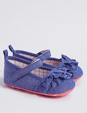 Baby Frill Pram Shoes, DENIM MIX, catlanding