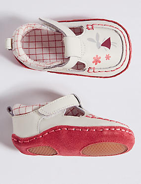 Baby Leather Riptape Bunny Shoes