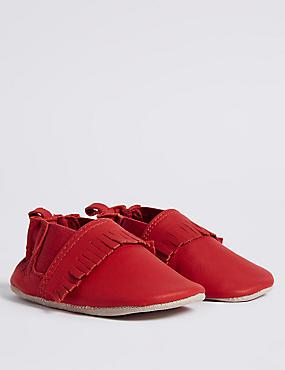 Baby Suede Fringe Pram Shoes, RED, catlanding