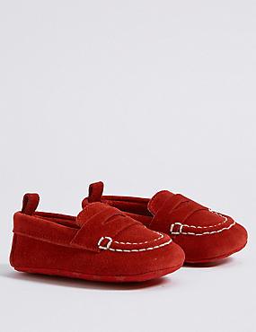 Baby Suede Loafer Pram Shoes, RED, catlanding