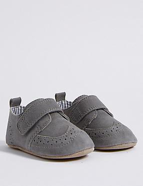 Baby Suede Riptape Pram Shoes, GREY MIX, catlanding
