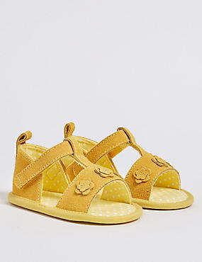 Baby Leather Riptape Floral Sandals