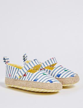 Baby Riptape Espadrille Pram Shoes, MULTI, catlanding