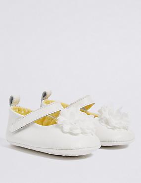 Baby Leather Pram Shoes, WHITE, catlanding
