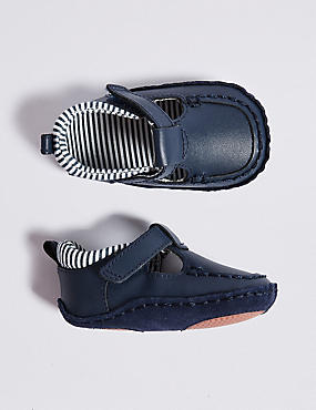 Baby Leather Riptape Pram Shoes, NAVY, catlanding