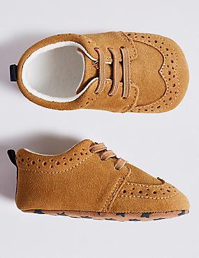 Baby Suede Brogue Lace Pram Shoes, TAN, catlanding