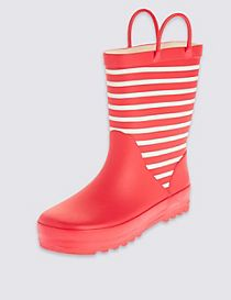 Kids' Reflective Striped Welly Boots