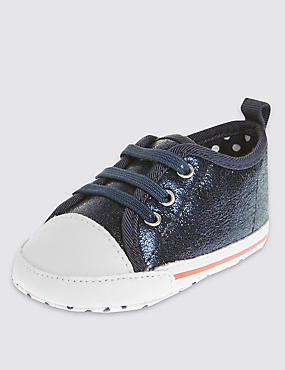 Kids' Sparkle Effect Trainers Pram Shoes