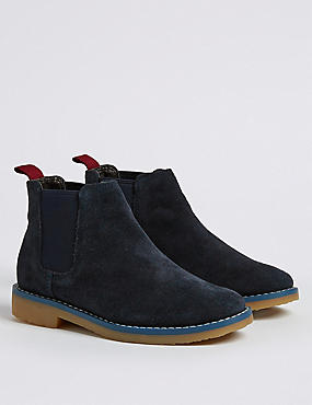 Kids' Suede Chelsea Boots (5 Small - 12 Small), NAVY, catlanding