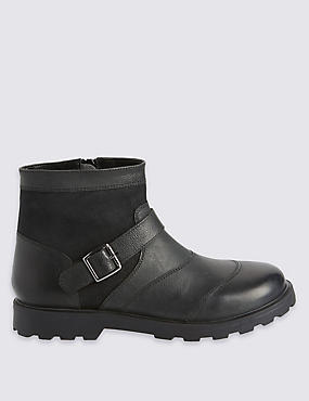 Kids' Leather Buckle Boots