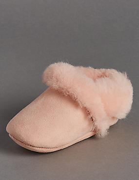 Kids' Suede Slip-On Sheepskin Pram Shoes