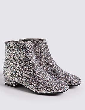 Kids' Sparkly Glitter Ankle Boots (13 Small - 6 Large), SILVER, catlanding