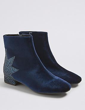 Kids' Velvet Ankle Boots (13 Small - 6 Large), NAVY, catlanding