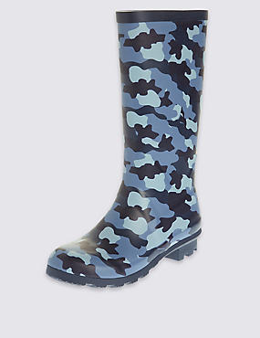 Kids' Camouflage Print Wellington Boots