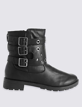 Kids' Side Zip Biker Boots