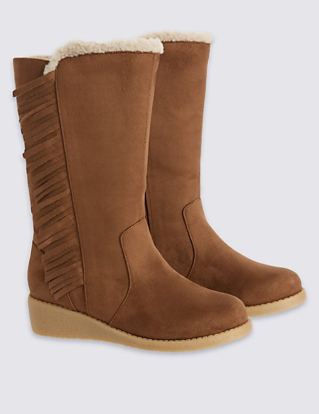 Kids' Fringed Wedge Knee Boots