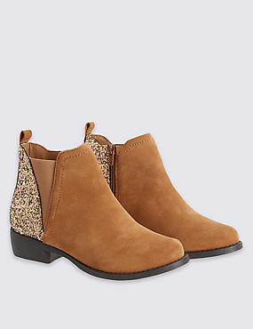 Kids' Suede Side Zipped Glitter Boots