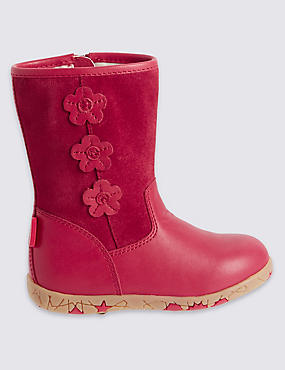 Kids Walkmates Leather Flower Boots