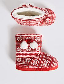 Kids' Fairisle Pull On Slippers