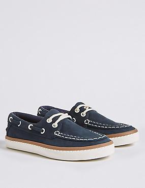 Kids' Freshfeet™ Boat Shoes (5 Small - 12 Small), NAVY, catlanding