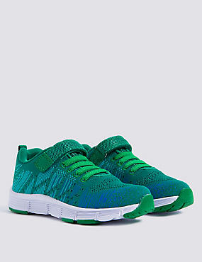 Kids' Knitted Riptape Sports Trainers, GREEN MIX, catlanding