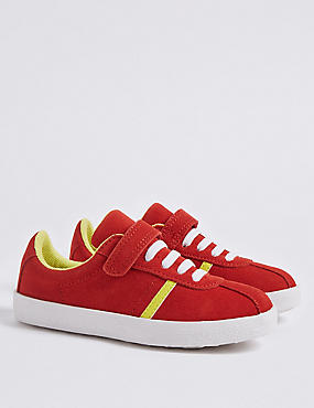 Kids' Suede Trainers, RED MIX, catlanding