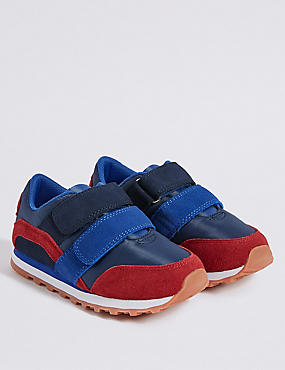Kids' Suede Fashion Trainers (5 Small - 12 Small), BLUE MIX, catlanding