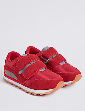 Kids' Suede Fashion Trainers (5 Small - 12 Small), RED MIX, catlanding