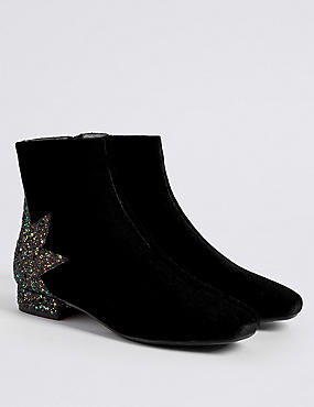 Kids' Sequin Velvet Ankle Boots
