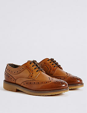 Kids' Leather Brogue Shoes (5 Small - 12 Small), BROWN, catlanding
