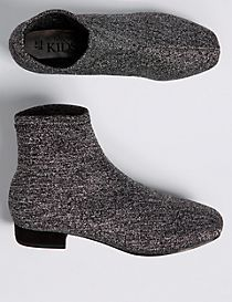 Kids' Silver Sparkle Ankle Boots