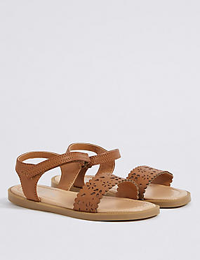 Kids' Riptape Tan Laser Cut Sandals
